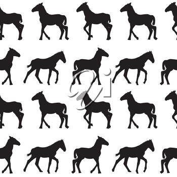 Seamless background with foals silhouettes