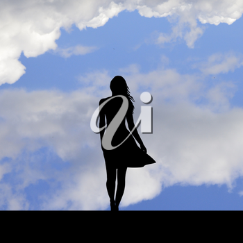 Suicidal attempt,silhouette of woman standing on the edge of a roof