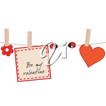 Valentine's card with ladybugs on clothes line holding rope