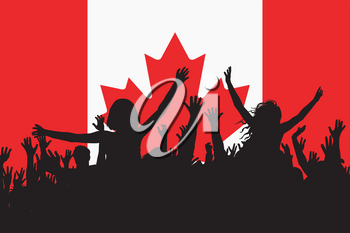 People silhouettes celebrating Canada national day
