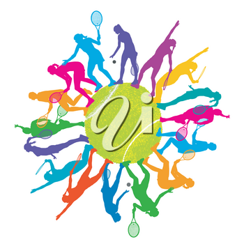 Colorful tennis concept with woman silhouettes playing tennis