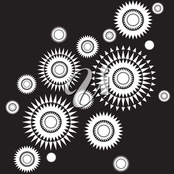 Abstract black and white background with round shapes