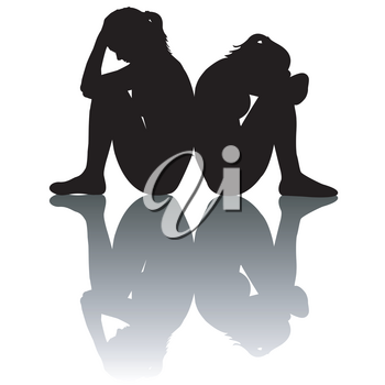 Sad women silhouettes with shadow on white background