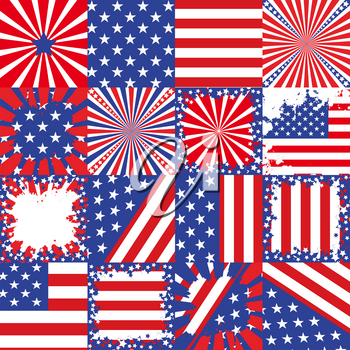 USA flag background patterns set