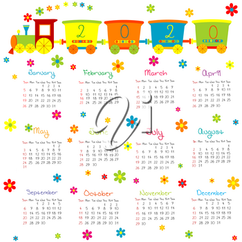 2020 Calendar for kids  with toy train and flowers