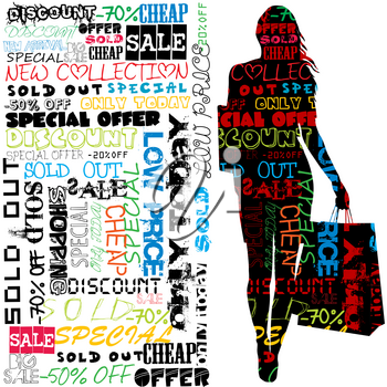 Shopping concept with silhouette of woman holding shopping bags
