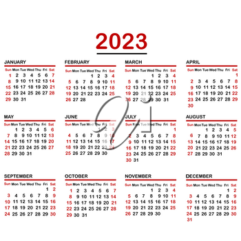 Minimalist calendar of year 2023