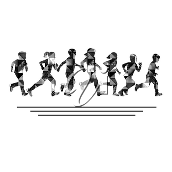 Group of boys and girls running silhouettes