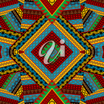 Creative colorful seamless patchwork pattern with african geometrical motifs