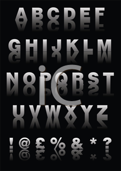 Royalty Free Clipart Image of the Alphabet and Symbols