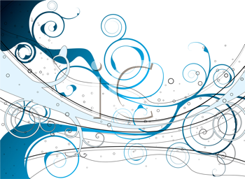 Royalty Free Clipart Image of a Blue Flourish