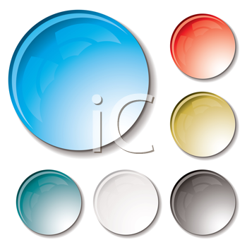 Royalty Free Clipart Image of a Set of Round Buttons