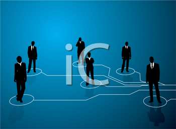 Royalty Free Clipart Image of Business People Connected