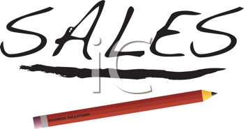 Royalty Free Clipart Image of the Word Sales and a Pencil