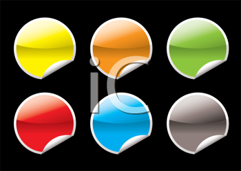 Royalty Free Clipart Image of Six Circle Tabs