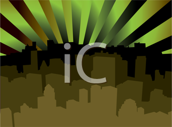 Royalty Free Clipart Image of a Silhouetted Skyline With Radiating Green