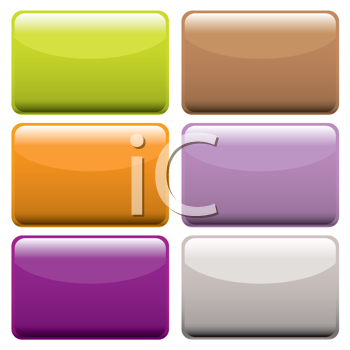 Royalty Free Clipart Image of a Set of Rectangular Buttons