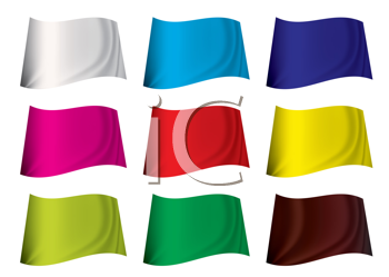 Royalty Free Clipart Image of Fluttering Blank Flags