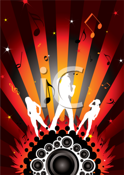 Royalty Free Clipart Image of Three Woman on a Music Themed Background
