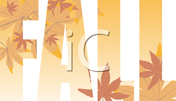 Royalty Free Clipart Image of the Word Fall With Leavs