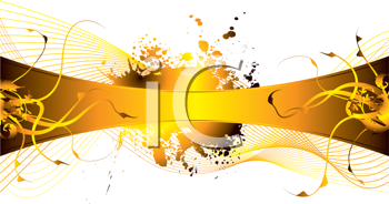 Royalty Free Clipart Image of a Flourish on a Gold Band