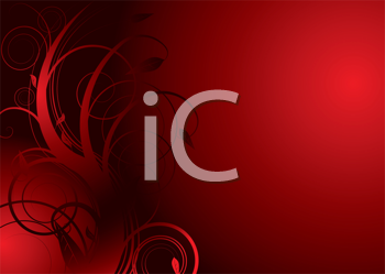 Royalty Free Clipart Image of a Red Background With a Flourish
