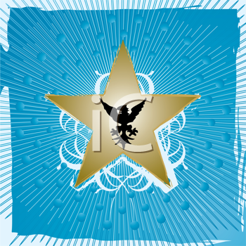 Royalty Free Clipart Image of a Gold Star on a Blue Square