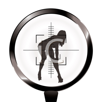 Royalty Free Clipart Image of a Woman in the Crosshairs