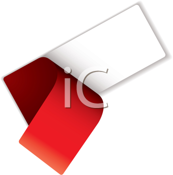 Royalty Free Clipart Image of a White Label With a Peeling Red Cover