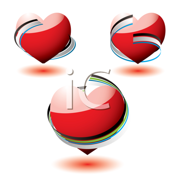 Royalty Free Clipart Image of Hearts With Ribbons