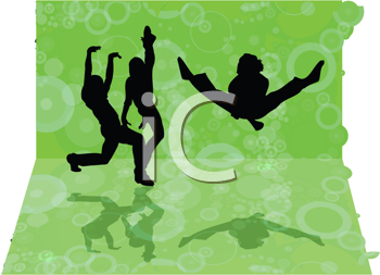 Royalty Free Clipart Image of Dancers on Green