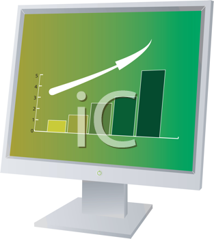 Royalty Free Clipart Image of a Monitor Showing Rising Profits