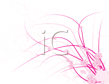 Royalty Free Clipart Image of a White Background With a Pink Floral Design in the Corner