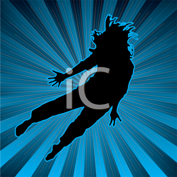 Royalty Free Clipart Image of a Dancer on a Striped Background