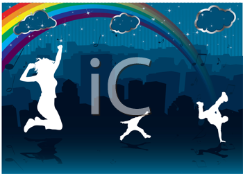Royalty Free Clipart Image of Silhouettes With a Rainbow and Clouds