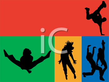 Royalty Free Clipart Image of a Group of Dancers