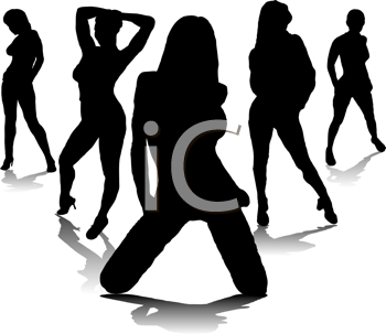 Royalty Free Clipart Image of Five Women Posing