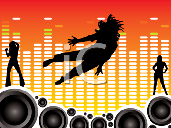 Royalty Free Clipart Image of a Dancers and Speakers