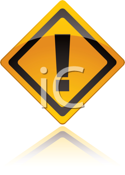 Royalty Free Clipart Image of a Yellow Warning Sign
