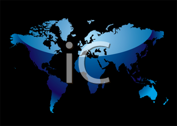 Royalty Free Clipart Image of a Blue Map on Black