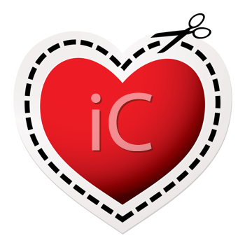 Red heart icon with scissors and love concept