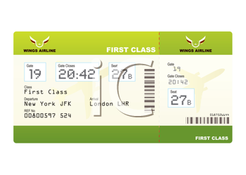 Royalty Free Clipart Image of Plane Ticket