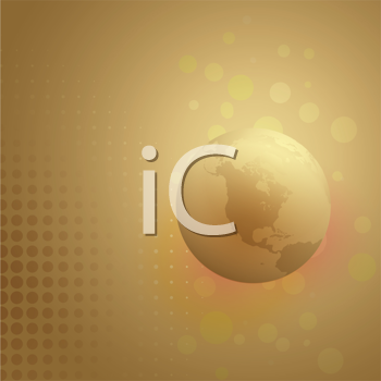 Royalty Free Clipart Image of a Globe on a Gold Background