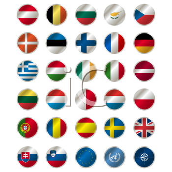 Royalty Free Clipart Image of a Set of Flag Icons