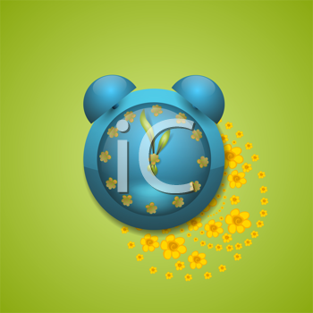 Royalty Free Clipart Image of a Clock With Flowers