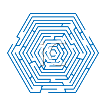 Royalty Free Clipart Image of a Hexagon Maze