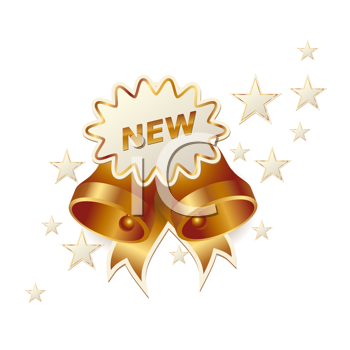 Royalty Free Clipart Image of Bells and Stars