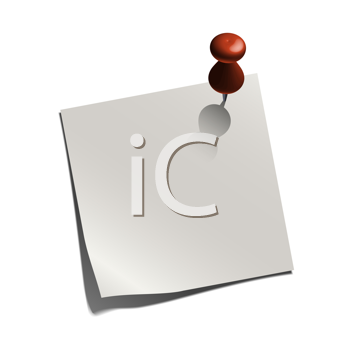 Royalty Free Clipart Image of a White Note With a Red Tack