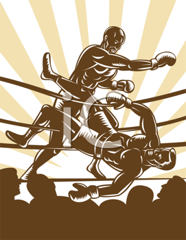 Royalty Free Clipart Image of a Boxing Match