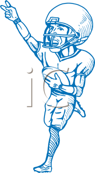 Royalty Free Clipart Image of a Football Player Making a Victory Sign